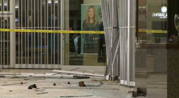 Police say an SUV was used to smash through the doors of Market Mall and a huge amount of jewelery was stolen from a store inside.