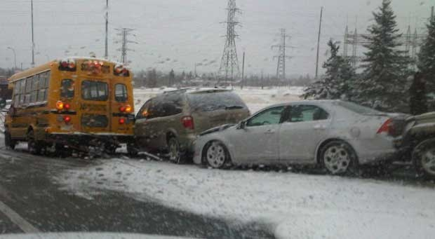Five vehicles, including a school bus, crashed together on Bow Trail near Strathcona Blvd. S.W.
