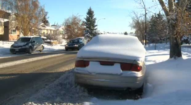 Snow route parking ban in Calgary