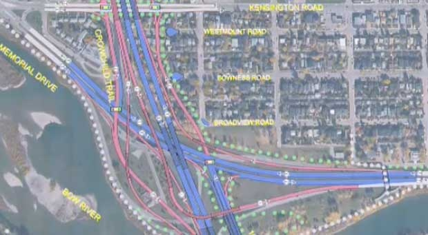 A plan to expand Crowchild Trail is displayed at a public meeting on Tuesday.