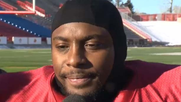 Calgary Stampeder Nik Lewis speaks to the media about his controversial tweet