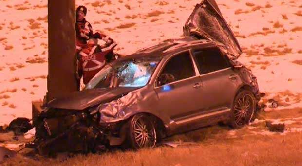 Police suspect that a man who has been sent to hospital  after a serious crash on Deerfoot Trail was racing with another vehicle before losing control.