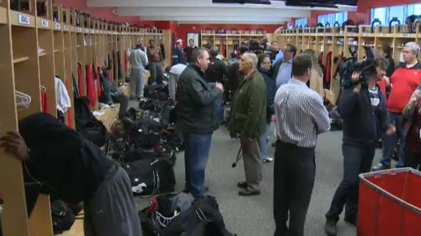 The Calgary Stampeders locker room at McMahon Stadium on Monday, November 19, 2012.