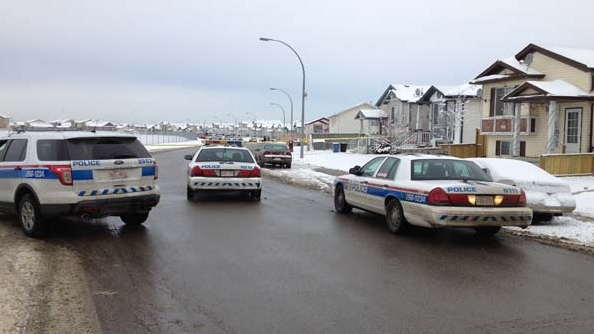 Police vehicles block off a street in the community of Martindale.