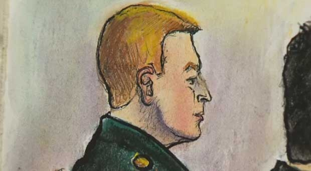 Calgary reservist Major Darryl Watts is seen depicted in a court illustration during his court martial trial at the Mewata Armoury.