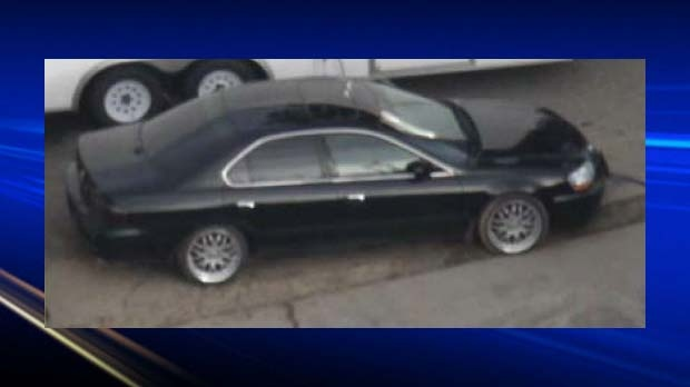 CCTV photo of a vehicle, described as a black four-door Acura, believed to be involved in the homicide of Kevin Anaya.