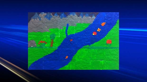 Our Beautiful Bow River - Plasticine on cardboard