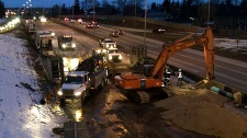 Crews working on Crowchild Trail water main break