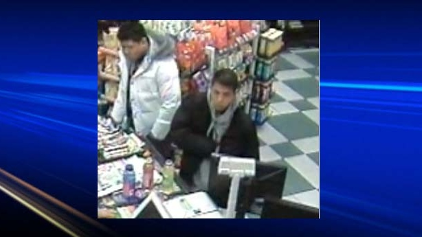 Surveillance pictures captured on a camera in a convenience store around the same time and near the homicide scene.