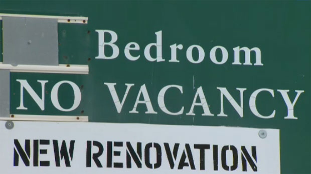 No Vacancy signs are a common sight outside of apartment buildings throughout Calgary.  The apartment vacancy rate in the city is at 1.3 per cent.