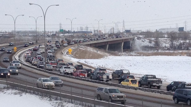 Northbound traffic on Deerfoot Trail is backed up following an early Saturday afternoon collision