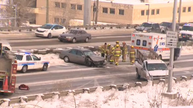 A Sunday afternoon multi-vehicle crash along eastbound Glenmore Trail.  All three eastbound lanes and one westbound lane were closed during the cleanup effort.