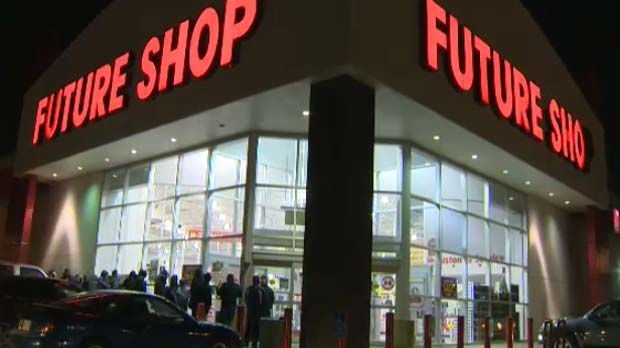 People were lined up early at the Future Shop on Macleod Trail.