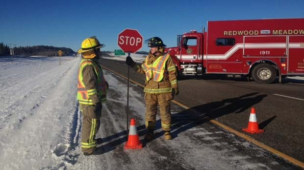Emergency crews block the Trans-Canada Highway after a fatal collision.