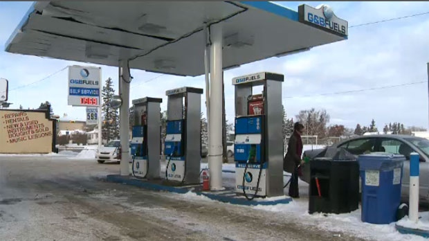 A gas station along 17 Ave. S.W. had a posted gas price of 96.9 cents per litre on Friday afternoon