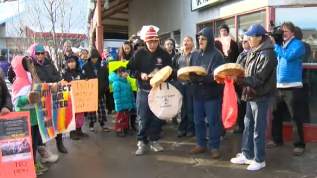 An Idle No More protest was held Sunday afternoon outside of Prime Minister Stephen Harper's constituency office in Glenmore Landing