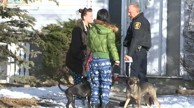 Authorities talk with some of the owners of a pair of dogs involved in a serious attack in northeast Calgary on Thursday morning. The dogs were not seized from the home.