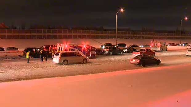 One man was critically injured in a crash on Deerfoot Trail near the Douglasdale overpass on Friday morning.