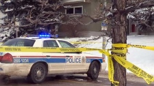 Police at scene of Brisebois stabbing