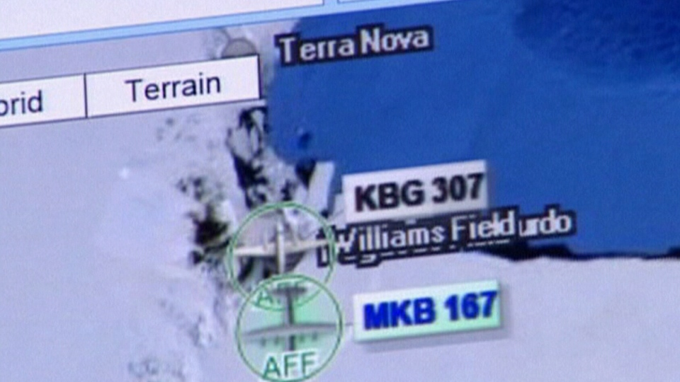 A graphic displays the area in Antarctica where the Twin Otter plane went missing.