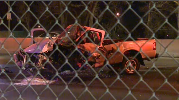 Pickup truck involved in Memorial Drive crash