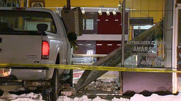 Calgary police are still sorting out the details after a truck was found smashed through the front doors of a southeast jewelry store.
