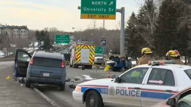 Police have shut down 16 Ave. N.W. to investigate a fatal crash.