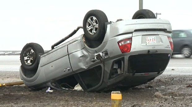 Vehicle rollover on Stoney Trail