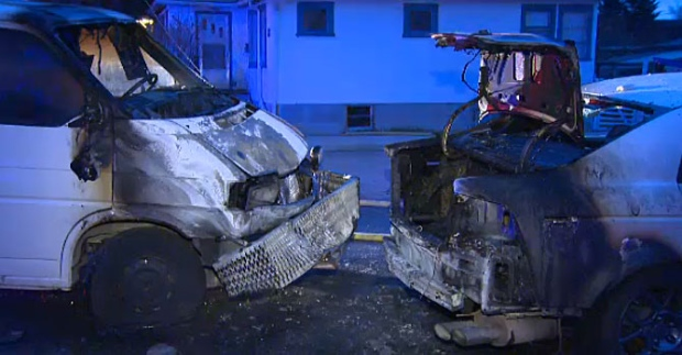 Two vehicles destroyed by fire