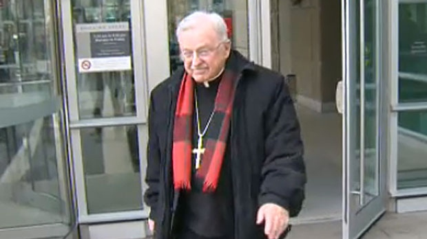 Bishop Fred Henry was in court on Tuesday to testify in support of Catholic priest who is fighting a defamation case involving charges that were proven false ten years ago.