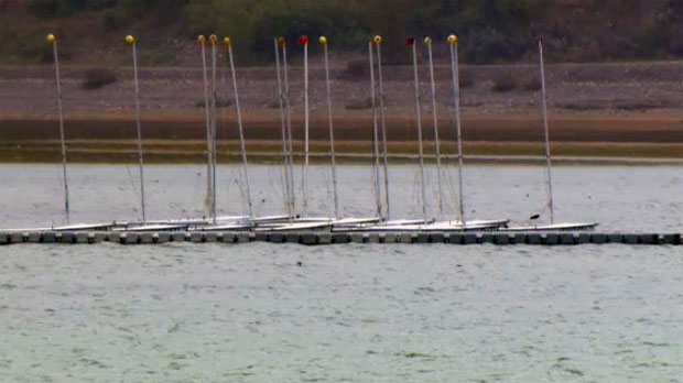 The rain has grounded boats on the Glenmore Reservoir.