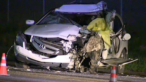 The driver of this SUV was killed when they slammed into the back of a City of Calgary street sweeper working in the northbound lanes of Shaganappi Trail N.W.
