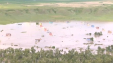 Aerial photo - Siksika First Nation flooding