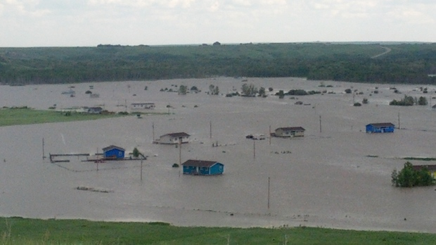 Floodwater pools on the Siksika First Nation (photo courtesy: Linda Little Chief)
