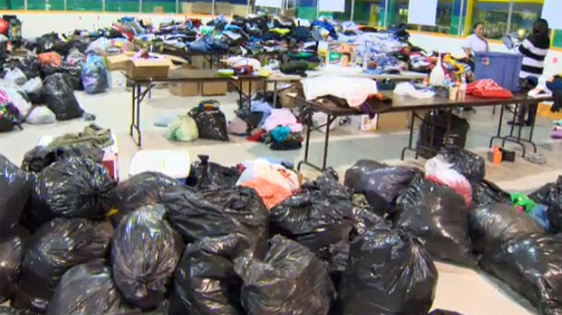 The public responded to a call for supplies and filled the collection facility.
