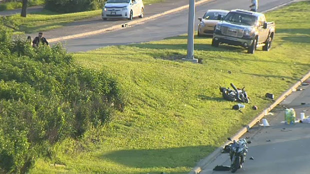 Eyewitnesses say that a motorcycle was driving at a high rate of speed when it struck the back of another vehicle and flipped several times.