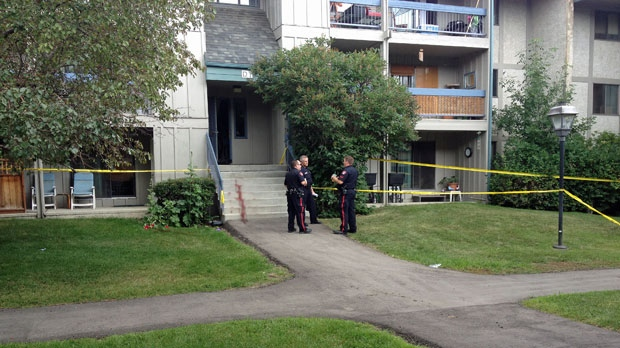 Two people were sent to hospital in an apparent stabbing at a residential building on 86 Ave S.E.