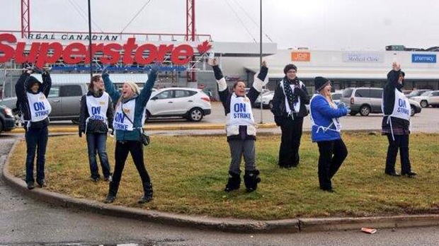 Enthusiastic Superstore employees strike outside of a Grande Prairie store (photo courtesy: William Vavrek)