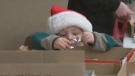 A child picks out Christmas ornaments