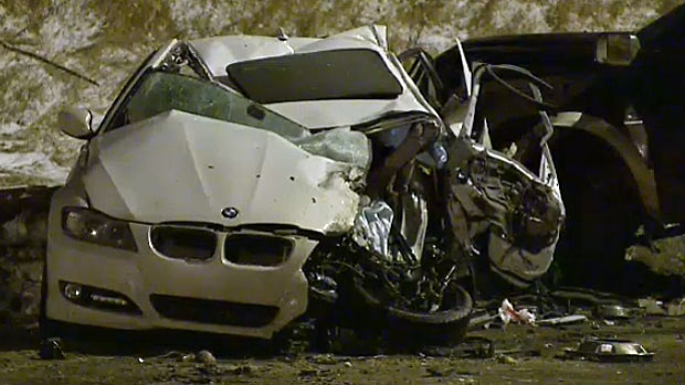 Three people were injured in a serious crash in northeast Calgary on Wednesday evening. The 19-year-old driver of this BMW was the most seriously injured. Impaired driving is suspected in the crash.