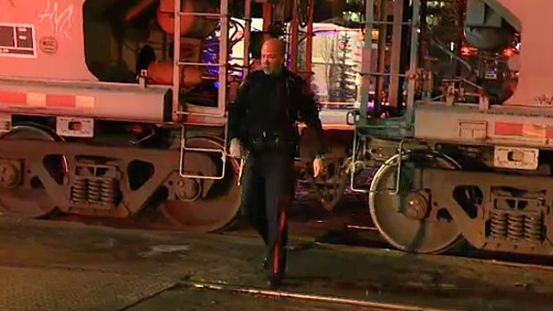 The Calgary Police Service is investigating after a man was struck by a CP train heading into the downtown core at about 9:30 p.m.