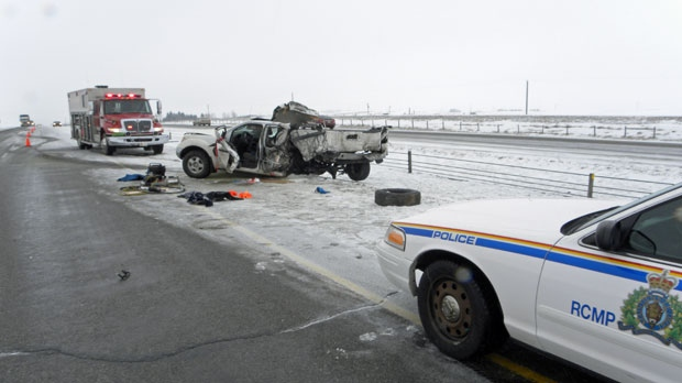 Airdrie Integrated Traffic Unit was called to the scene of a serious collision on the QEII just north of the City of Airdrie