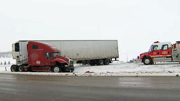A semi tractor-trailer unit jackknifed on the QEII near Crossfield on Wednesday afternoon.