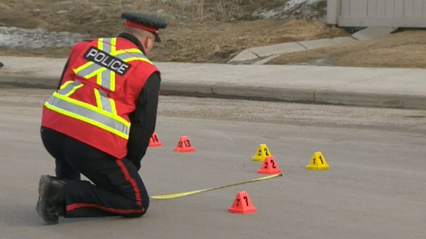 A CPS member at the scene of Thursday afternoon's collision in Kincora which involved a young pedestrian