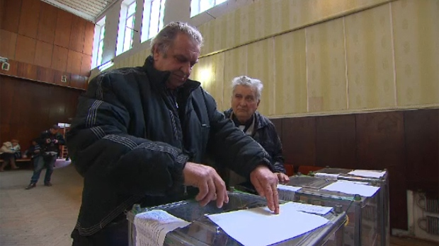 Voting station during Sunday's referendum vote in Crimea