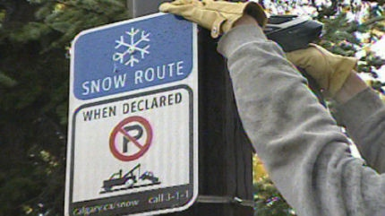 City crews are already putting up signs to alert motorists to the snow event parking ban.
