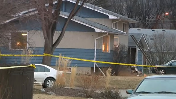 Police tape is seen around a home in Brentwood, where five people were stabbed and later died early Tuesday morning.