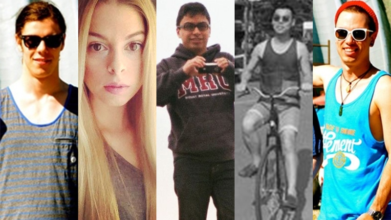 Calgary mass stabbing victims, from left: Zackariah Rathwell, Kaiti Perras, Jordan Segura, Lawrence Hong and Josh Hunter.