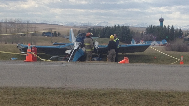 The remains of a single engine airplane following a crash near the entrance road to Calaway Park