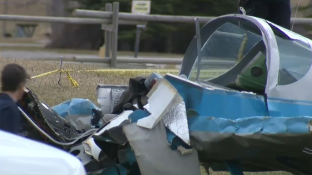 Damage to the cockpit of the Storm S-280 following a crash near Calaway Park